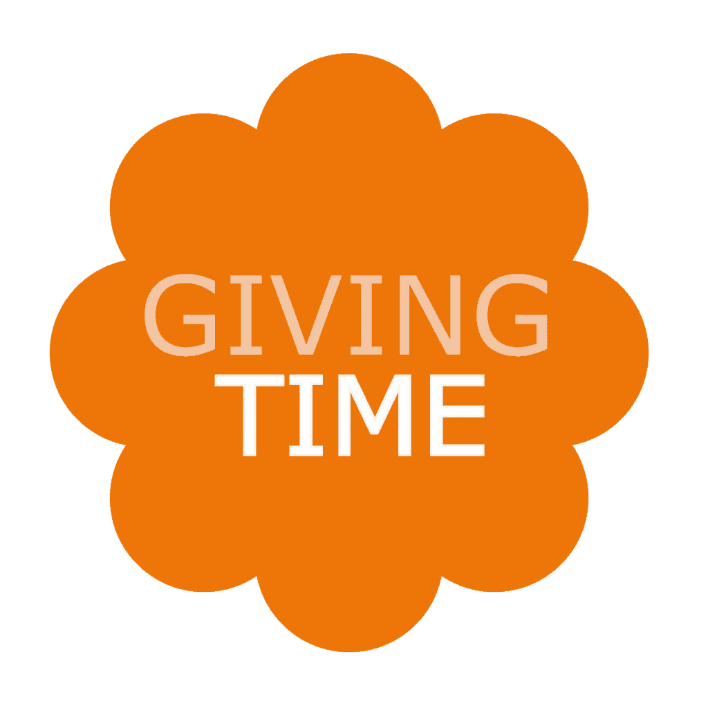 The Giving Time logo, an orange floret shape with the words Giving in paler orange and Time in white
