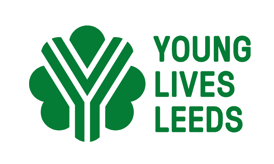 The Young Lives Leeds Logo, a green floret with large Y made of stripes filling the centre
