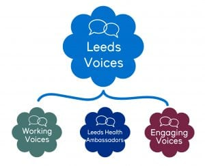 Leeds Voices Logo with Working Voices, Engaging Voices and Leeds Health Ambassador logos