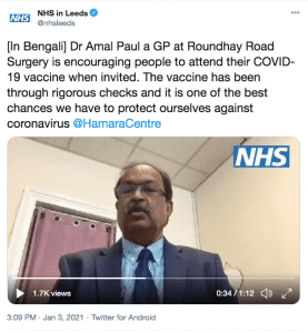 Screenshot of the twitter post by NHS Leeds of a video of a Leeds GP explaining about the covid vaccine in Bengali