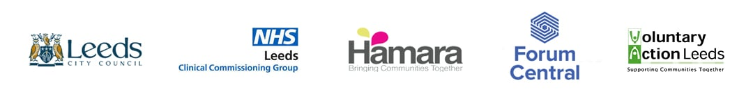 Supporters of the community champion programme logos: Leeds City Council, NHS Leeds CCG, Hamara, Forum Central, VAL