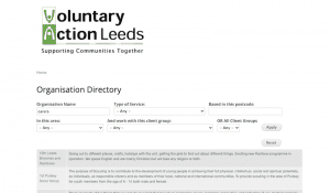 Screenshot of the VAL Directory website page showing the search box and listings